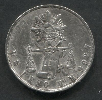 1871 Mexico Mo M Peso XF Details Cleaned.