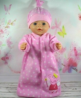 """Dolls clothes for 17"""" Baby Born doll~PEPPA PIG PINK/WHITE SPOT SLEEPING BAG~HAT"""