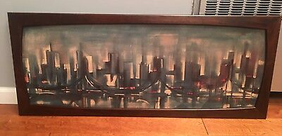 Large Mid Century Abstract Ozz Franca Skyline/Cityscape Lithograph Wall Art