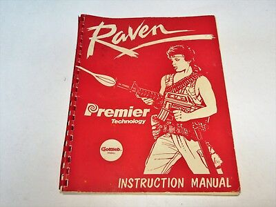 Raven Premier Technology Gottlieb Pinball Instruction Manual Good Condition