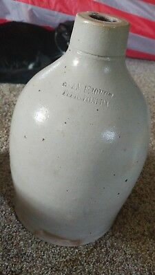 Vintage whiskey crock stoneware Evan B Jones Pittston PA