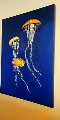 """Jellyfish 3d Original art for sale by artist. Large 48"""" x 36"""" One of a Kind"""