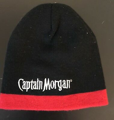dbb3a656f54 Captain Morgan Beanie Hat Knit Cap Black Embroidered Spell Out OneSize  Unisex