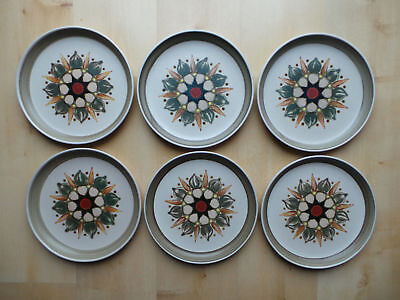 "Denby Langley Sherwood 10"" Wide Dinner Plates X6"