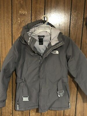 The North Face Girls Kids Hyvent 550 Hooded Coat Gray Jacket Large