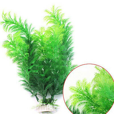 "12"" Ornament Artificial Green Plant Grass Fish Tank Aquarium Pro Plastic Decor^"