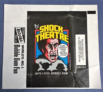 Shock Theatre / Shocking Laffs wax trading card wrapper by Topps 1976 UK Variant