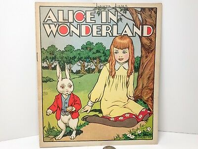 Vintage 1930 Alice Wonderland Book Lewis Carroll Linenette Mad Hatter Illustrate