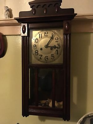 Traditional Antique Grandfather Wood Wall Clock with Pendulum and Key,,