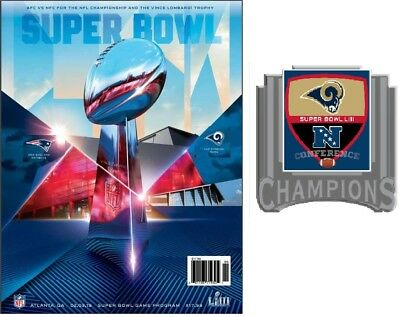 Super Bowl 53 National Version Program +Pin Nfc Los Angeles Rams Superbowl Liii