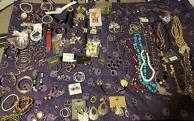 Huge lot of over 200+ jewelry new and vintage Necklaces Bracelets Earrings +more