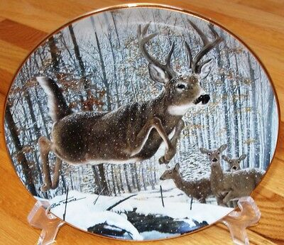 Danbury Mint Travers FLYING HIGH Deer Buck Plate + COA