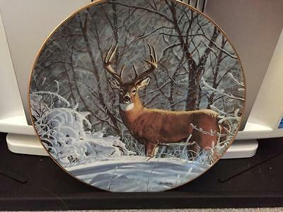 Danbury Mint Winter Whitetail Deer Buck Limited Edition Plate