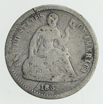 5c ***1/2 Dime** - 1862 Seated Liberty Half Dime - Early American Type Coin *880
