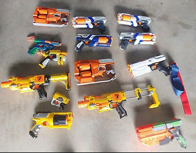 Lot Of Nerf Guns Elite Pistol Dart Tag Care War Party Maverick Mods Yellow Blue