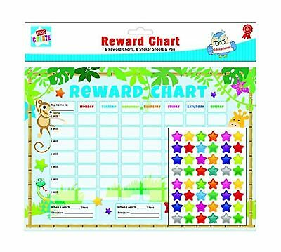 6 x Reward Charts Childrens Jungle Themed Behaviour/Chore Charts with Stickers &