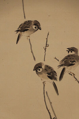 "JAPANESE HANGING SCROLL ART Painting ""Sparrows"" Asian antique  #E5776"