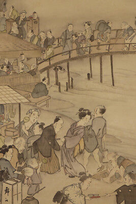 "JAPANESE HANGING SCROLL ART Painting ""Scenery in Edo priod""  #E5766"