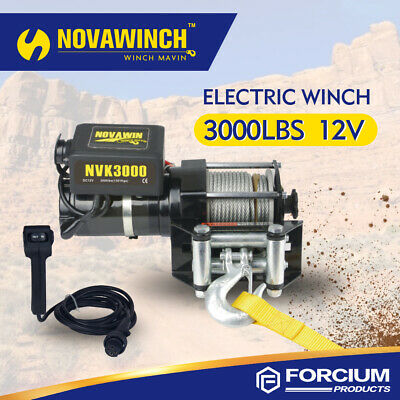 3000Lb Electric Recovery Winch Atv Utility 12V With Steel Cable Roller Fairlead