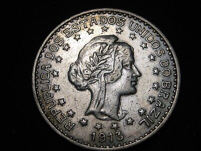 1913-A Silver 1000 Brazil Reis -  Low Mintage Of Only 900,000  - Au