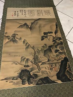Antique Vintage Chinese Japanese Watercolor Painted Hanging Art Scroll