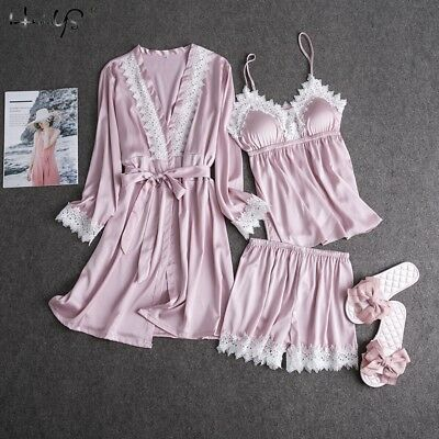 3 Pieces Set Women Lady Silk Satin Pajamas Pyjama Sleepwear Nightwear Loungewear