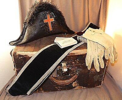 Antique MASONIC KNIGHTS TEMPLAR Bicorn HAT in Original Trunk w/SASH, Gloves, etc