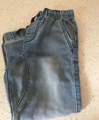 Boys Pull On Cuffed Jeans with drawstrings in Faded Wash Size 5 Great Condition