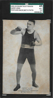 HARRY GREB 1925-29 Exhibits Blue Boxers SGC 45 HIGHEST GRADED Record Back POP 1
