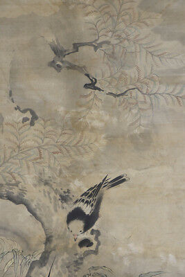 "JAPANESE HANGING SCROLL ART Painting ""Bird and Flower"" Asian antique  #E5568"