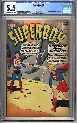 SUPERMAN #80  CGC 5.5 CR-OW  DC Comics 4/60 1st meeting of Superboy & Supergirl