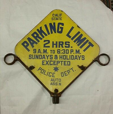 Rare 2 Side Antique California Auto Assoc Parking Limit Porcelain Sign No Res.