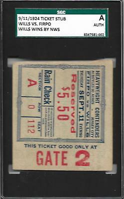 """9/11/1924 HARRY WILLS vs LUIS FIRPO Boxing Ticket SGC """"The Black Panther"""" IBHOF"""