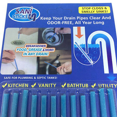 12 Sani Sticks Soap Keep Drain Pipes Clean Pack Bar Odor Free Cleaning Product L