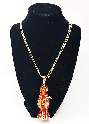 Red Santa Muerte Necklace Holy Death Chain & Pendant Grim Reaper Jewelry
