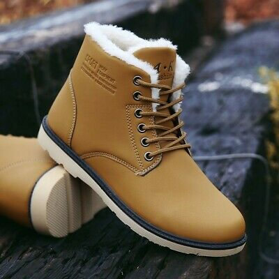 AU Winter Warm Men's Leather Snow Ski Ankle Boots Lace Up Casual High Top Shoes