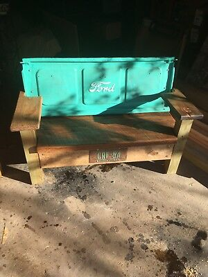 Rustic Ford Tailgate Bench