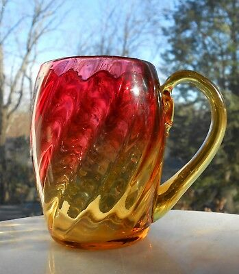 1800s antique Victorian amberina barrel mug swirl blown glass polished pontil