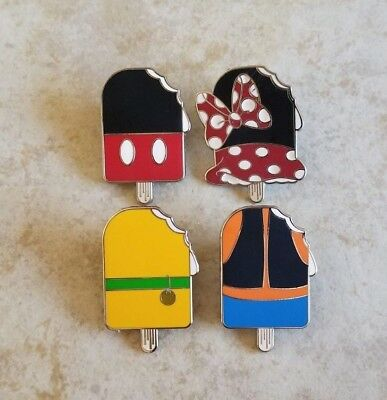 Disney Trading Pins Lot of 4 Ice Cream Popsicle Set Mickey Minnie Pluto Goofy