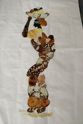 Vintage African Butterfly Wing Art 3D Folk Art Picture woman carrying fruit