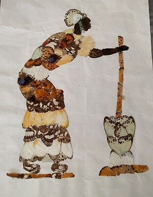Vintage African Butterfly Wing Art 3D Folk Art Picture woman churning butter