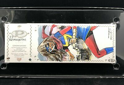 2017 Marvel Premier MS. MARVEL JJ Dzialowski Sketch Quad Panel Captain 1/1