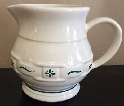 "Longenberger Pottery Small Pitcher 5 1/2"" Woven Traditions Heritage Green"
