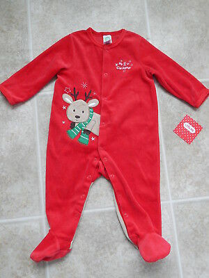 051ab75200a64 LITTLE ME NWT My 1st Christmas 6 Mo one Piece W  Hat red bows ...