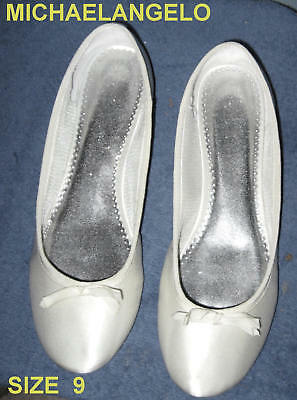 NEW 9 white slipper MICHAELANGELO silky SATIN shoe bridal honeymoon ballerina
