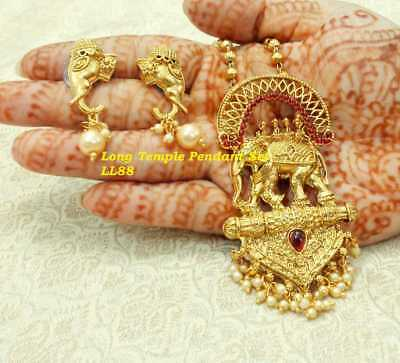 Indian Women Pendant Set Gold Plated Antique Temple Fashion Wedding Jewelry