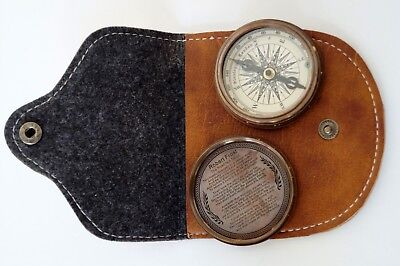 Maritime Maritime Compasses Brass Golden Compass Marine Stanley London 1885 W Poem Compass With Leather Case Superior Materials