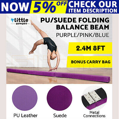 2.4m/2.45m Gymnastics Folding Balance Beam Suede/PU leather pink blue purple OZ