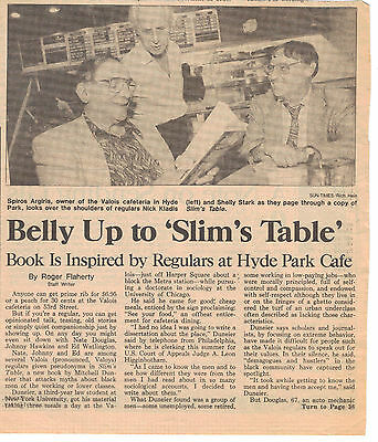 Slim's Table Article- Valois - Hyde Park Chicago 8/9/92 Pres. Obama's Favorite