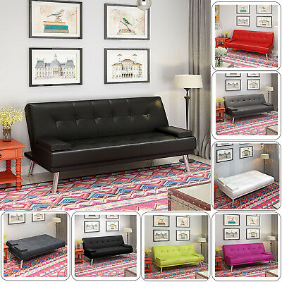 PU Leather / Fabric 3 Seater Sofa Bed Suede Sofabed Recliner Choices of Colour